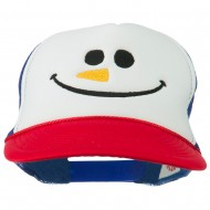 Christmas Snowman Smile Embroidered Foam Cap - Red White Royal