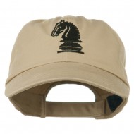 Chess Knight Embroidered Pet Spun Washed Cap - Khaki