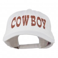 Cowboy Embroidered Washed Cap - White