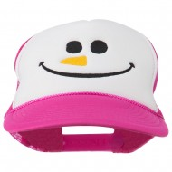 Christmas Snowman Smile Embroidered Foam Cap - Hot Pink White