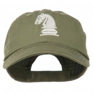 Chess Knight Embroidered Pet Spun Washed Cap - Olive