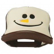 Christmas Snowman Smile Embroidered Foam Cap - Brown Tan