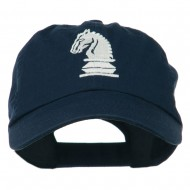Chess Knight Embroidered Pet Spun Washed Cap - Navy