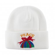 Christmas World Peace Embroidered Beanie - White