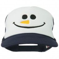 Christmas Snowman Smile Embroidered Foam Cap - Navy White