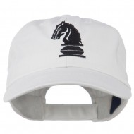 Chess Knight Embroidered Pet Spun Washed Cap - White