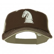 Chess Knight Embroidered Big Size Washed Mesh Cap - Brown Beige