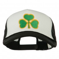 Clover St.Patrick's Day Embroidered Big Size Trucker Cap - White Black