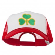 Clover St.Patrick's Day Embroidered Big Size Trucker Cap - White Red