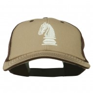 Chess Knight Embroidered Big Size Washed Mesh Cap - Khaki Brown