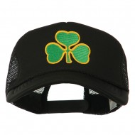 Clover St.Patrick's Day Embroidered Big Size Trucker Cap - Black