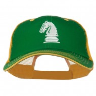 Chess Knight Embroidered Big Size Washed Mesh Cap - Kelly Gold