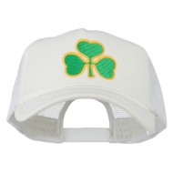 Clover St.Patrick's Day Embroidered Big Size Trucker Cap - White