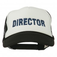 Director Embroidered Foam Mesh Back Cap - Black White