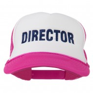 Director Embroidered Foam Mesh Back Cap - Hot Pink White