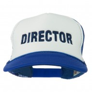Director Embroidered Foam Mesh Back Cap - Royal White