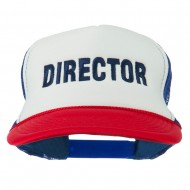 Director Embroidered Foam Mesh Back Cap - Red White Royal