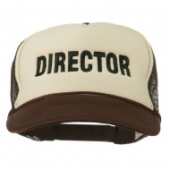 Director Embroidered Foam Mesh Back Cap - Brown Tan