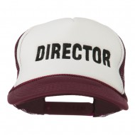 Director Embroidered Foam Mesh Back Cap - Maroon White