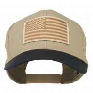 Desert American Flag Patched Two Tone High Cap - Navy Khaki