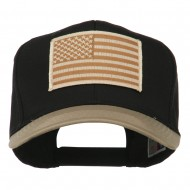 Desert American Flag Patched Two Tone High Cap - Khaki Black