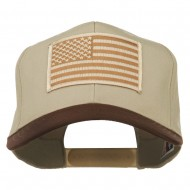 Desert American Flag Patched Two Tone High Cap - Brown Khaki