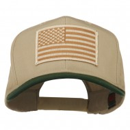 Desert American Flag Patched Two Tone High Cap - Green Khaki