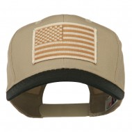Desert American Flag Patched Two Tone High Cap - Black Khaki