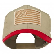 Desert American Flag Patched Two Tone High Cap - Red Khaki