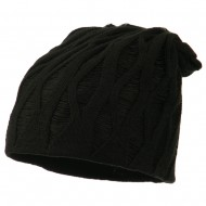 Deep Crown Distressed Reversible Beanie - Black