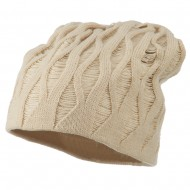 Deep Crown Distressed Reversible Beanie - Beige