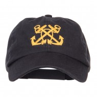 Double Anchor Embroidered Low Cap - Black