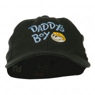 Daddy's Boy Embroidered Youth Flexfit Garment Washed Cap - Black