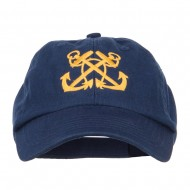 Double Anchor Embroidered Low Cap - Navy