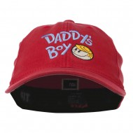 Daddy's Boy Embroidered Youth Flexfit Garment Washed Cap - Red
