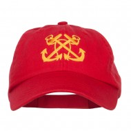 Double Anchor Embroidered Low Cap - Red