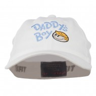 Daddy's Boy Embroidered Youth Flexfit Garment Washed Cap - White