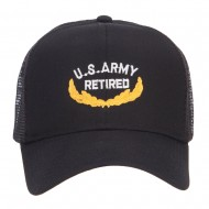 US Army Retired Emblem Embroidered Mesh Cap - Black