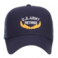 US Army Retired Emblem Embroidered Mesh Cap - Navy