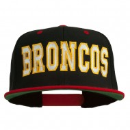 Broncos Embroidered Snapback Cap - Black Red