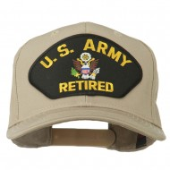 US Army Retired Military Patched Cap - Khaki