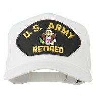 US Army Retired Military Patched Cap - White