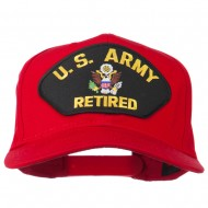 US Army Retired Military Patched Cap - Red