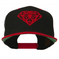 Diamond Embroidered Snapback Two Tone Cap - Black Red
