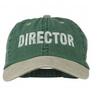 Movie Director Embroidered Washed Two Tone Cap - Spruce Khaki