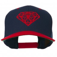 Diamond Embroidered Snapback Two Tone Cap - Navy Red