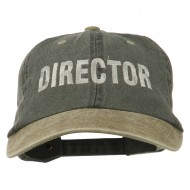 Movie Director Embroidered Washed Two Tone Cap - Black Khaki