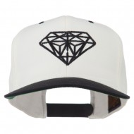 Diamond Embroidered Snapback Two Tone Cap - Natural Black