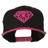 Diamond Embroidered Snapback Two Tone Cap - Black Pink