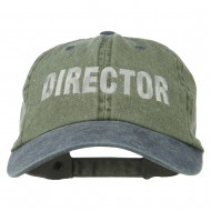 Movie Director Embroidered Washed Two Tone Cap - Olive Navy